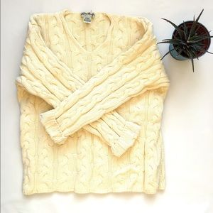 Vintage Eddie Bauer Sweater, Yellow V Neck Top